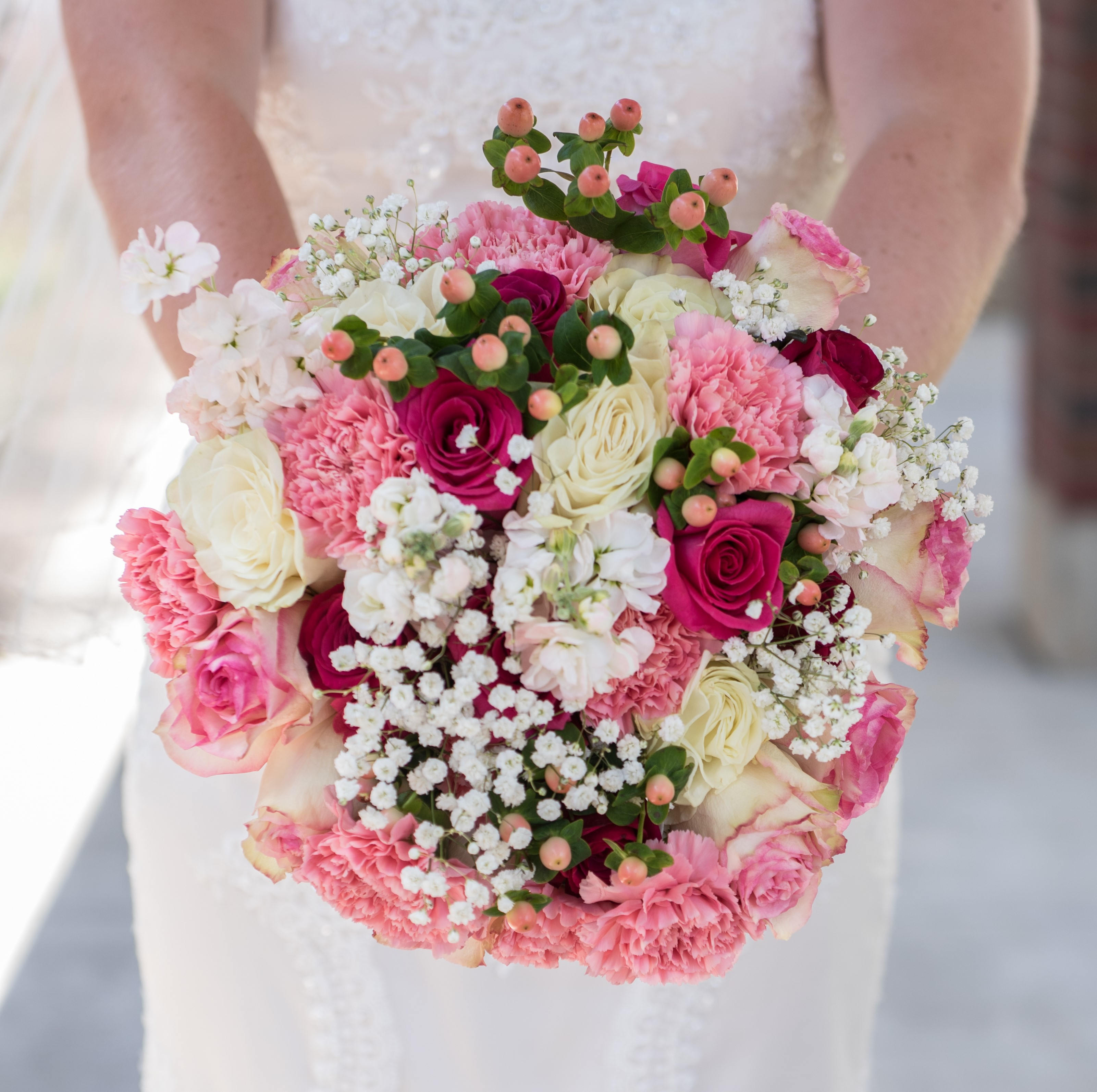 Bouquet gallery wedding flowers by cyndi watermelon and pink bridal bouquet mightylinksfo