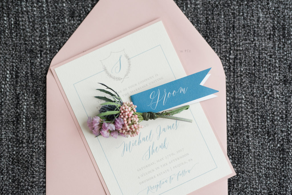 Blush colored invitation